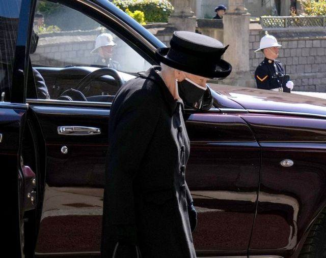 "Queen Elizabeth II arrives for the funeral of the Duke of Edinburgh at St George""s Chapel, Windsor Castle, Berkshire."