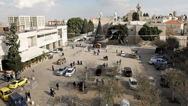میدان مهد در بیتلحم با درخت غولپیکرش آماده کریسمس است