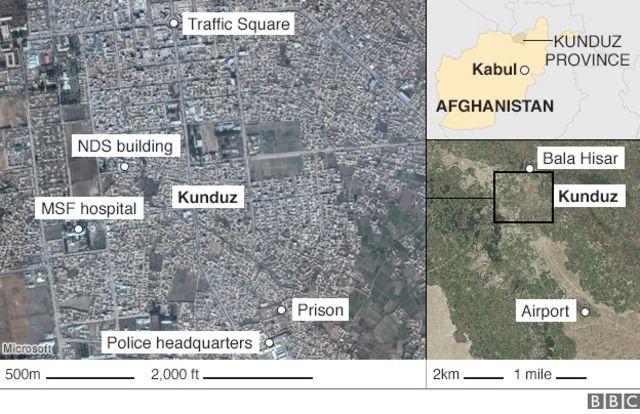 クンドゥズの地図