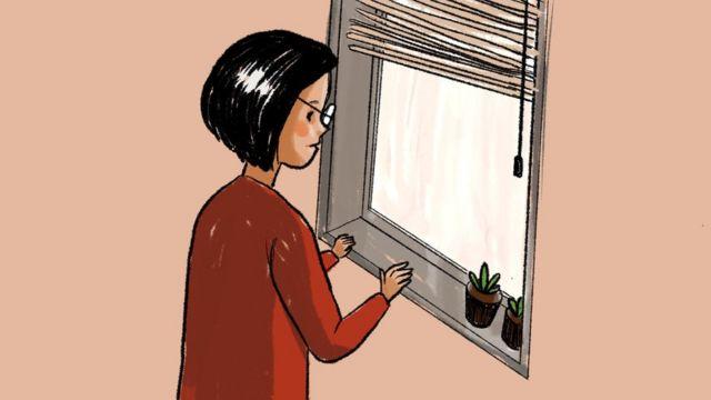 插图(从窗口望出去的女人)