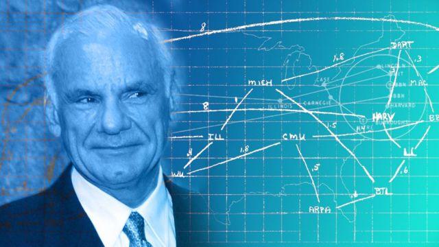 El diagrama dibujado a mano por Larry Roberts's en 1969 de la potencial Arpanet.