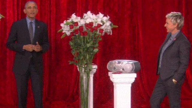 US President Barack Obama reads out poem on The Ellen DeGeneres Show