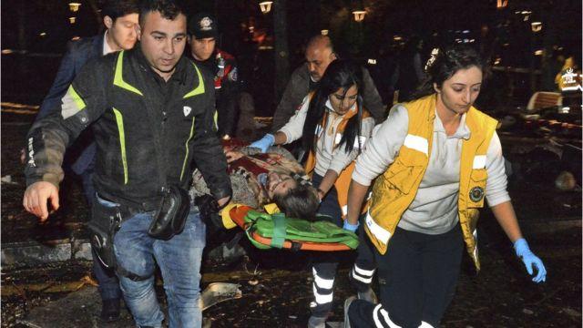 負傷者は10カ所の病院に搬送されたという(13日)