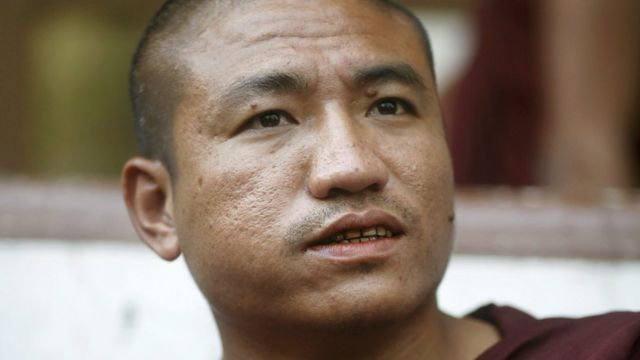 File photo of Shin Gambira, leader of the All-Burmese Monks Alliance, talking to supporters while attending a court hearing in Yangon