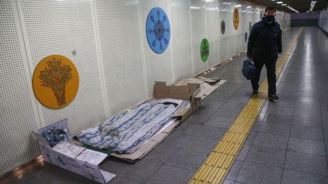 Colchón en el metro