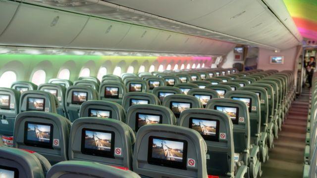 Interior de un Boeing 787.