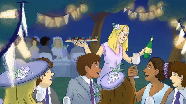 Lucy sirviendo tragos en la boda de su amiga.