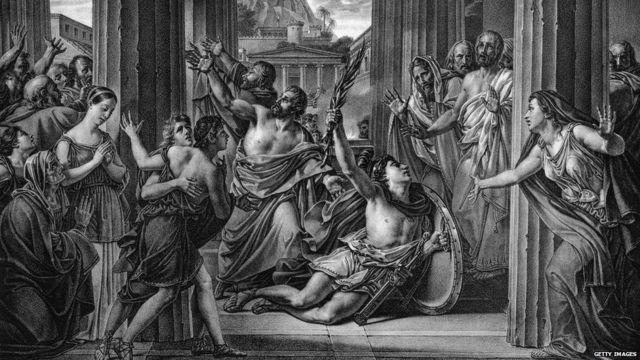 Ilustración de la llegada de Filípides a Atenas.