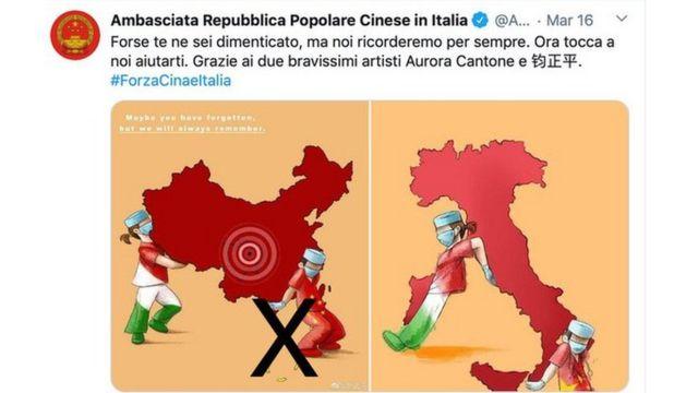 Đại sứ Trung Quốc ở Ý đăng hai bức ảnh: bên trái có đường lưỡi bò, bên phải (của Aurora Cantone) không có đường lưỡi bò trên Twitter ngày 14/3