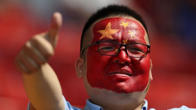 A China fan enjoys the pre match atmosphere during the 2018 FIFA World Cup Russia group G match between Belgium and Tunisia at Spartak Stadium on June 23, 2018 in Moscow, Russia.