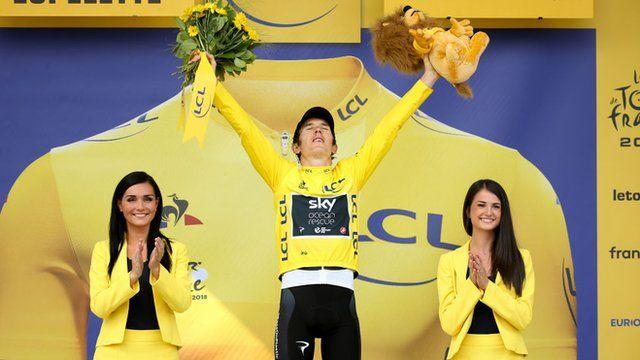 Geraint Thomas on the Tour de France podium
