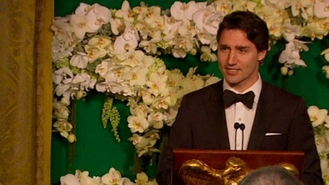 Canadian Prime minister Justin Trudeau addresses the state dinner in Washington