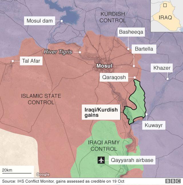 モスル近郊で各勢力が掌握しているとみられる地域(19日時点、出典:IHS)