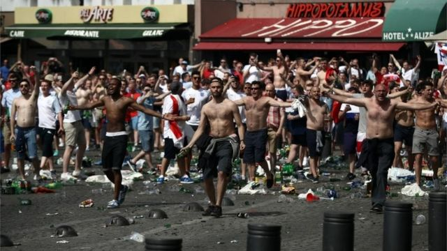 Angry football fans gathered in Marseille
