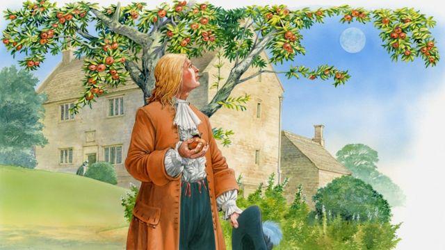 Isaac Newton en su jardín con manzana