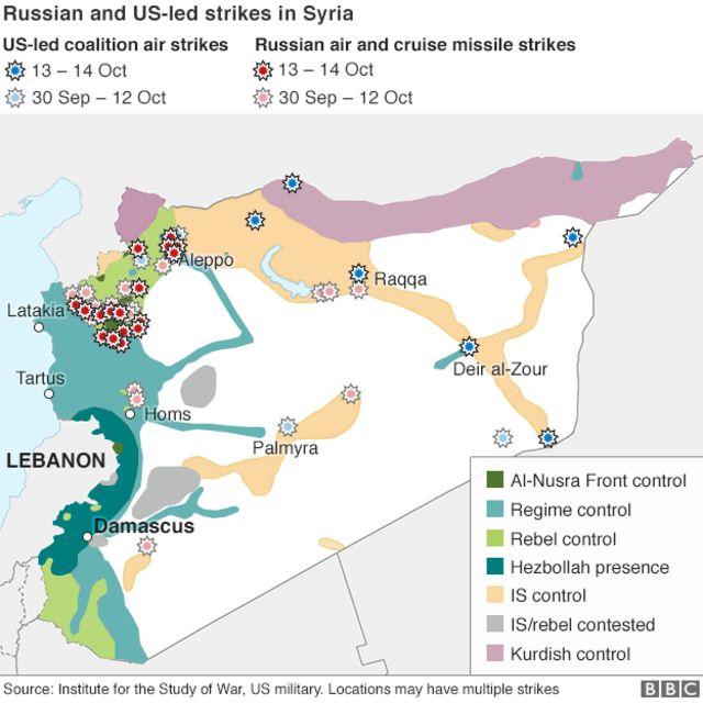 ロシア(赤)と米主導の有志連合(青)がそれぞれシリア領内で空爆した場所