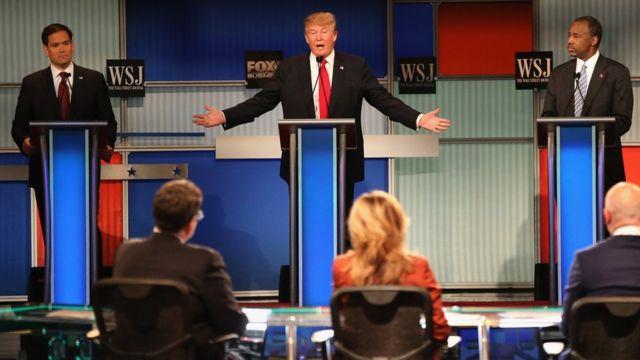 Senator Marco Rubio, Donald Trump and Ben Carson at the Republican Presidential debate in Milwaukee