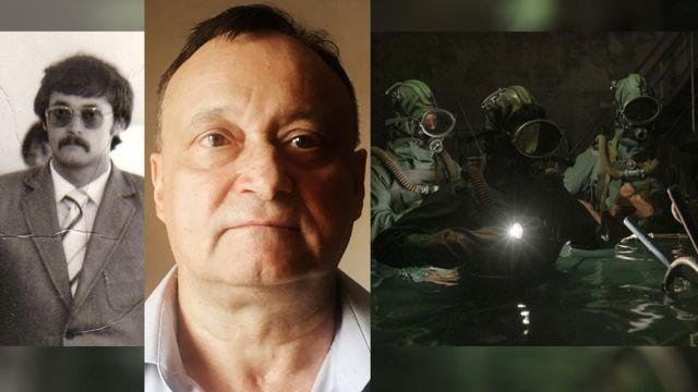 Oleksij Ananenko (nekad i sad) i scena iz TV serije u kojoj tri radnika nose respiratore