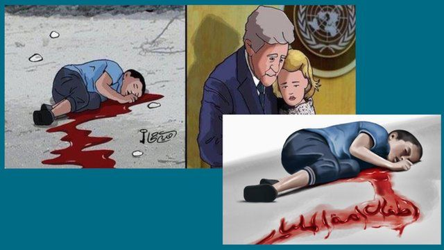 Cartoon depictions of Jamal al-Ashqar, the boy who was reportedly killed by an air strike in Aleppo