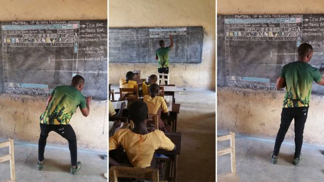 Ghana man teaching computing without computers becomes viral hit
