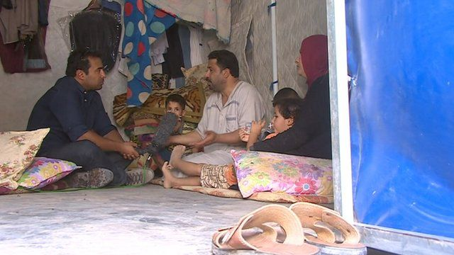 The BBC's Ahmed Maher speaks to displaced Iraqis