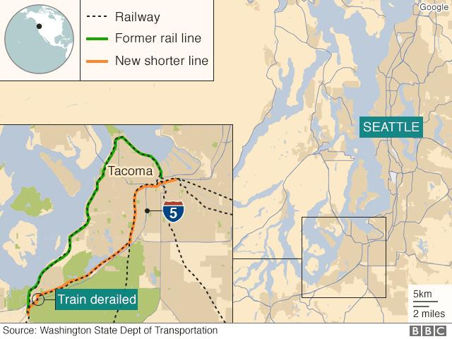 Map showing location of train crash near DuPont, Washington State