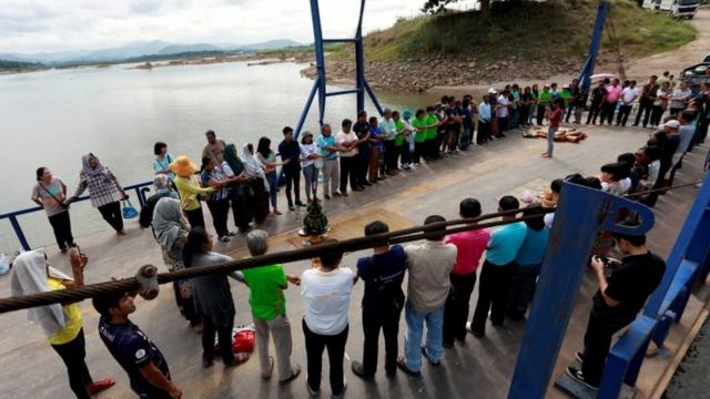 Activists and villagers protest against Laos dam on Mekong river outside of Loei, Thailand, October 29, 2019