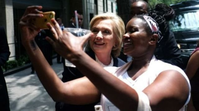 Hillary durante campanha eleitoral nos EUA