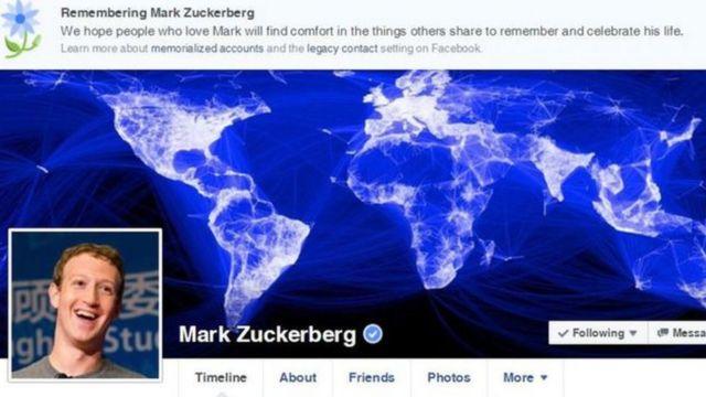 صفحة مارك زوكربرغ، مؤسس فيسبوك، عانت من نفس الخلل