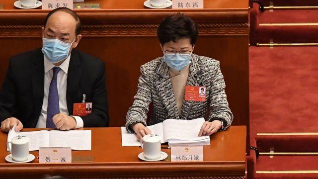 """香港特首林郑月娥与澳门特首贺一诚在今年""""两会""""。"""
