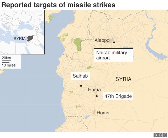 Map of Syria showing reported targets of missile strikes on 29 April 2018