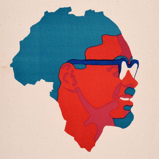 """Une affiche Ospaaal, intitulée """"Journée de solidarité avec le Congo, 1972"""", montrant le visage de Patrice Lumumba sur une carte de l'Afrique."""