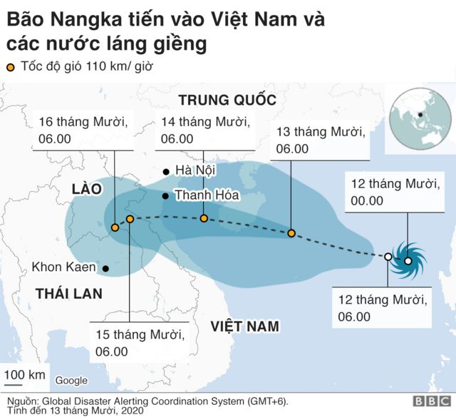 Bão Nangka tiến vào Việt Nam
