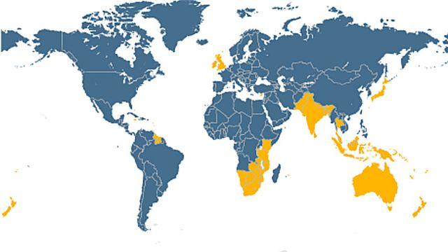 Mapa de países que manejan a la izquierda y a la derecha