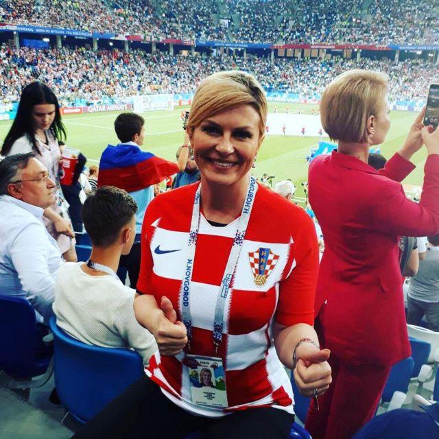 Presido Kolinda Grabar-Kitarovic na di first woman presido for Croatia wey go play dia first World Cup final on Sunday
