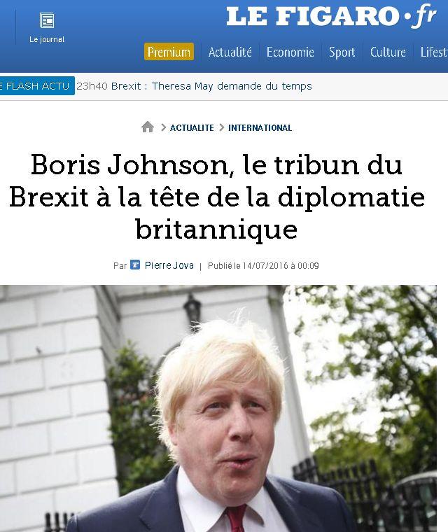 Le Figaro headline and photograph