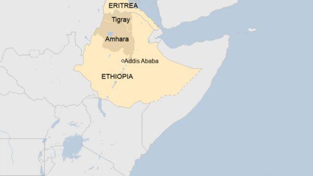 Ikarita ya Ethiopia igaragaza Tigray