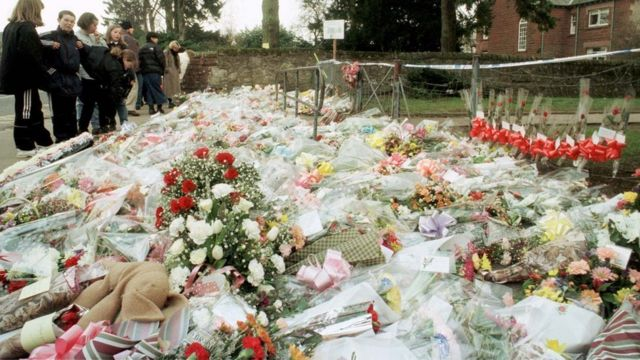Flowers outside Dunblane Primary School a day after the shooting 14th March 1996.