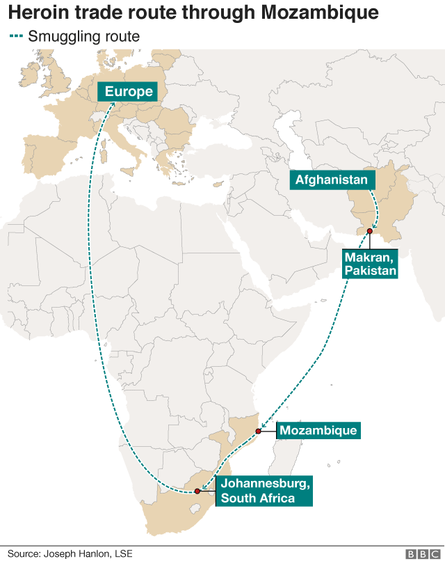 map showing the smuggling route