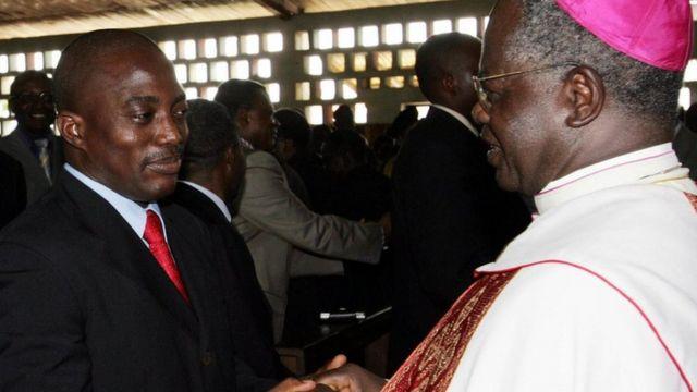 L'archevêque démissionnaire et le président Kabila dont c'est le dernier mandat.