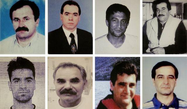 Fotos de oito vítimas de assassinato supostamente do grupo neonazista: (na parte de cima, da esquerda para a direita) Enver Simsek, Abdurrahim Ozudogru, Suleyman Taskopru e Habil Kilic e (na parte de baixo, da esquerda para a direita) Yunus Turgut, Ismail Yasar, Theodorus Boulgarides e Mehmet Kubasik