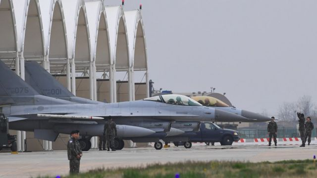 South Korean KF-16 jet fighters prepare for take off during the 'Max Thunder' South Korea-US military joint air exercise at a US air base in the southwestern port city of Gunsan