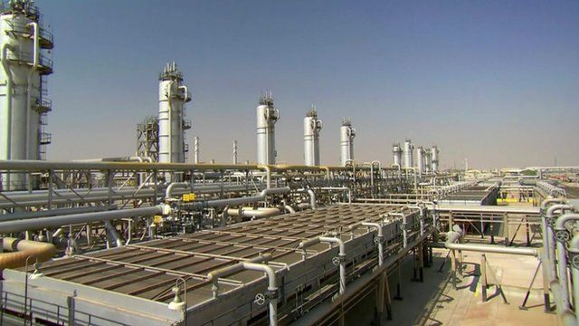 An oil refining plant in Saudi Arabia