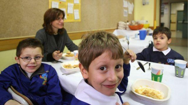 Niños italianos a la hora de almuerzo.
