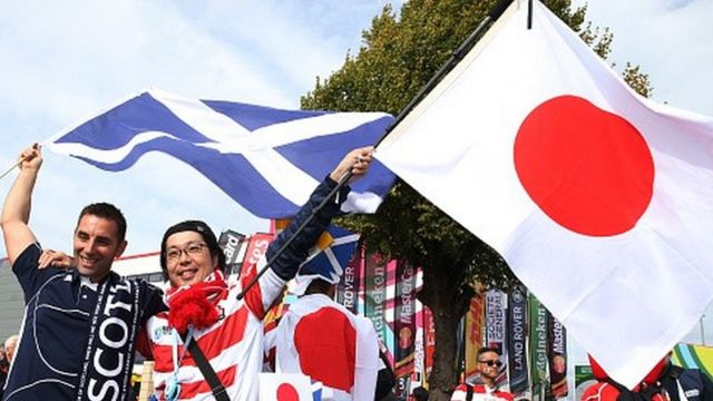 Japan and Scotland rugby fans ahead of their World Cup game