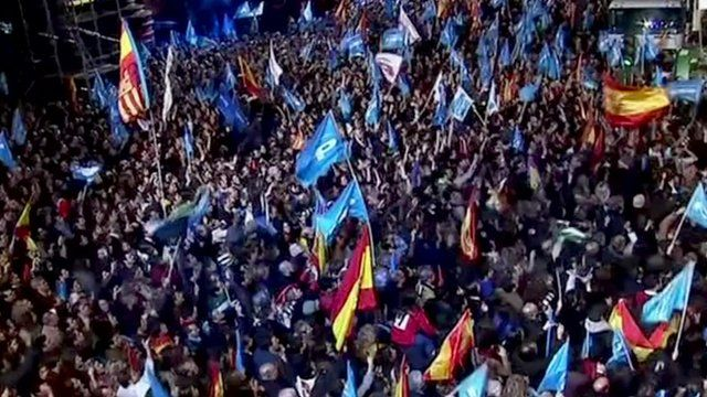 Spanish people celebrating last election victory in 2011