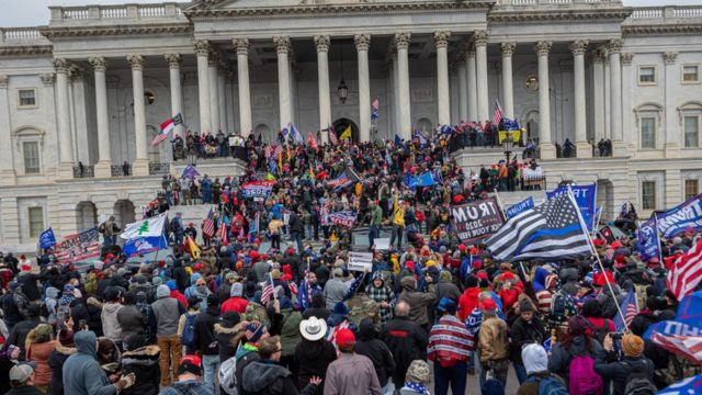 Protest in the Capitol on January 6.