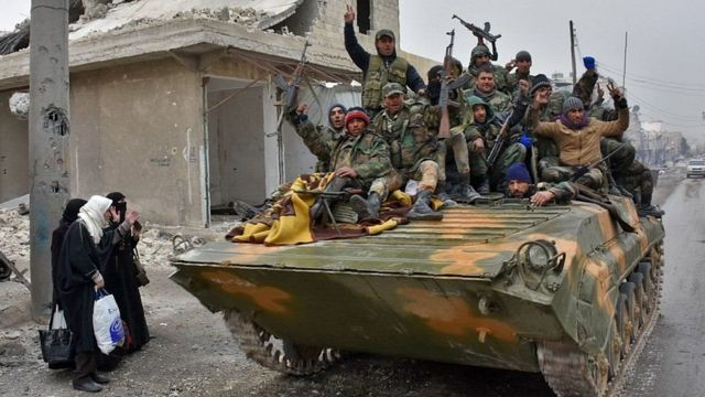 Troops and militiamen have taken control of the entire northern half of the rebel enclave