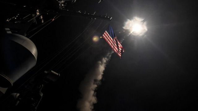 U.S. Navy guided-missile destroyer USS Porter (DDG 78) conducts strike operations while in the Mediterranean Sea which U.S. Defense Department said was a part of cruise missile strike against Syria
