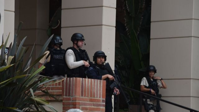 Heavy police presence on UCLA campus